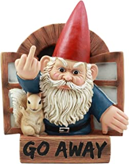 """Ebros""""Go Away"""" Rude Gnome And His Squirrel At The Window Flipping Off Guests Wall Decor 9""""H Whimsical Grumpy Gnome Wall Pl..."""