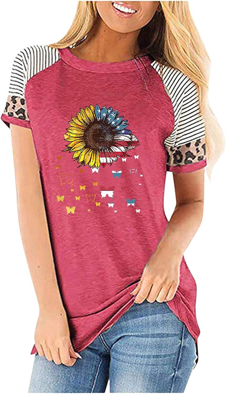 Women's OFFicial site Max 43% OFF Casual Leopard Print Short Sleeve Tops Sunfl Summer