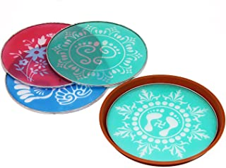 Designer Stencil Floor Art Décor Set of 4 with Traditional Indian Motifs & Patterns Festive Party Decorations