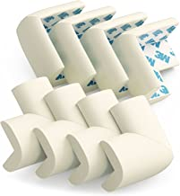 Sure Basics Baby Safety Corner Protectors - Pre-applied 3M Tape, Childproof Tables and Furniture Sharp Corners, Edge Guard Cushion, 8 Pack, (Off White)