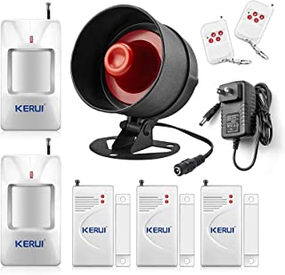 KERUI Standalone Home Office Shop Security Alarm System Kit, Wireless Loud Indoor/Outdoor Weatherproof Siren Horn with Remote Control and Door Contact Sensor,Motion Sensor,Up to 110db
