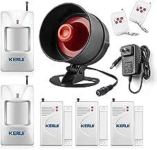 KERUI لوازم خانگی سیستم خانه و دفتر لوازم خانگی کیت سیستم زنگ هشدار، بی سیم با صدای بلند در محیط داخلی / بیرونی آبنبات سوزنی شاخ با کنترل از راه دور و درب تماس با سنسور، سنسور حرکت، تا 110db