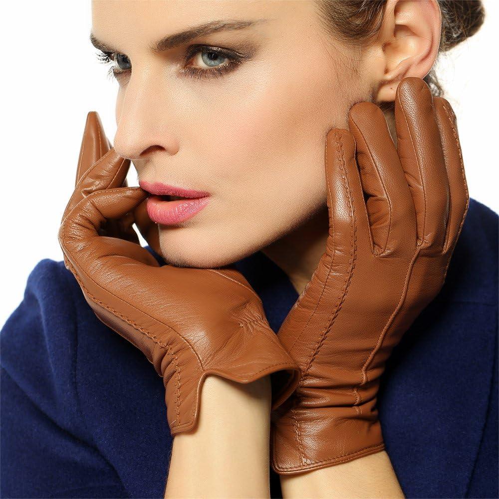 WARMEN Women's Sheepskin Winter Leather Gloves Touchscreen Simple Sytle Soft Warm