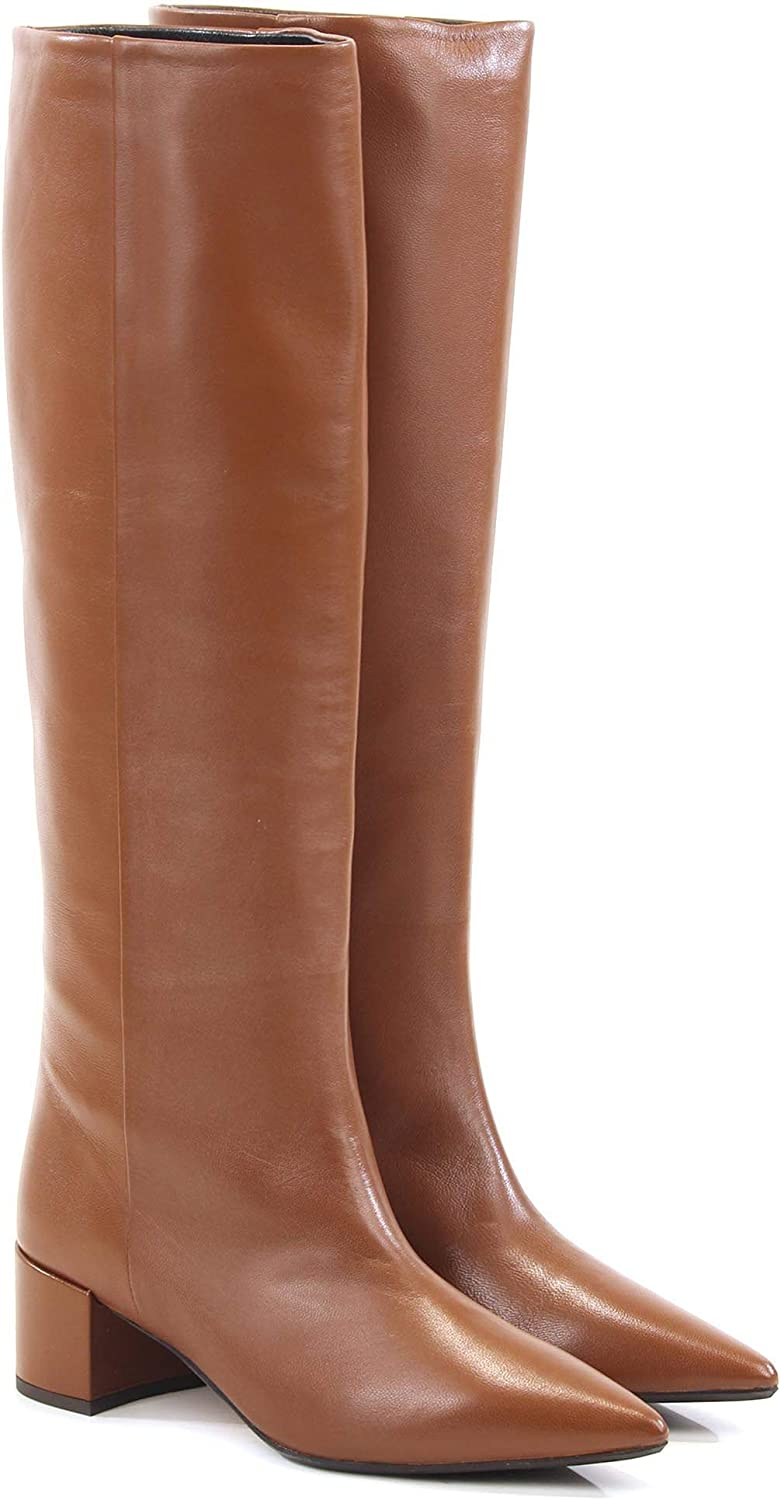 ANNA F Women's 9402BROWN Brown Leather Boots