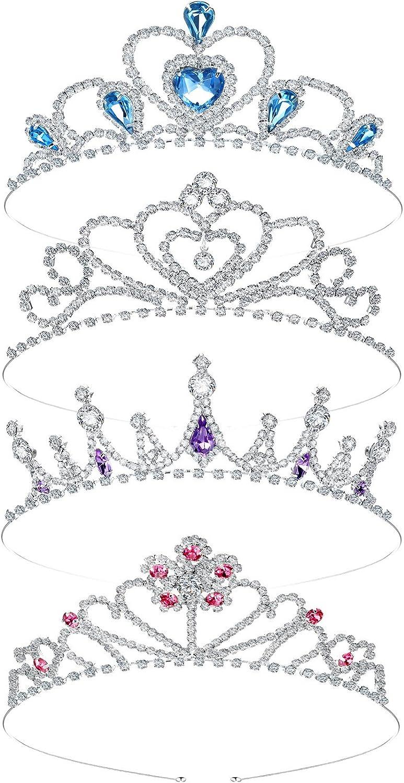 4 Coronas de Diamantes de Imitación Plateada para Niñas Tiara de Cristal de Niñas Corona de Princesa de Diamantes de Imitación Diadema de Tiara de Princesa de Cristal para Chicas