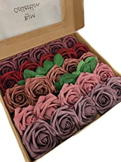 BJM Collection Artificial Flowers 25pcs Fake Rose Latex Foam with Stem Wedding Bouquets Centerpieces Bridal Shower Party Decoration (Mixed 1)