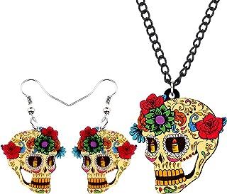 DUOWEI Halloween Skull Grim Reaper Jewelry Novelty Gift Set | Includes Dangle Earrings & Pendant Necklace