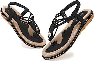WINZYU Sandale Femme Plate Été Chaussures Élastique Confortable