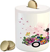 Ambesonne Cars Piggy Bank, Woman Driving a Floral Car with Butterflies in The Air Female on The Road Girls Theme, Ceramic Coin Bank Money Box for Cash Saving, 3.6