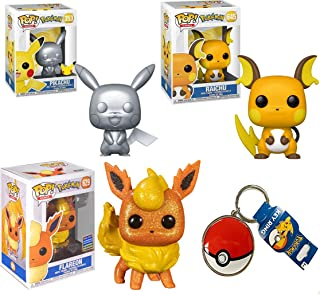 Throw The Ball Watch Em Fight: Funko Pop! Games Pokemon Pikachu Silver 353/ Raichu 645/ Flareon WonderCon Diamond Exclusiv...