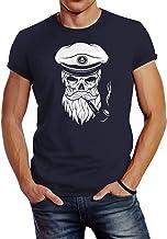 Neverless Herren T-Shirt Totenkopf Kapitän Captain Skull Bard Hipster Original Spirit Seemann Slim Fit