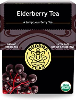 Organic Elderberry Tea, 18 Bleach-Free Tea Bags – Organic Tea Strengthens the Immune System, Supports Upper Respiratory Health, and Is a Great Source of Antioxidants, No GMOs