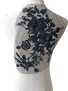 Blossom 3D Flower Applique, Beaded Sequins Flower LACE Patch Bridal Wedding Dress Embossed Beading Embroidery lace Appliques Motif Sewing Craft (Black)