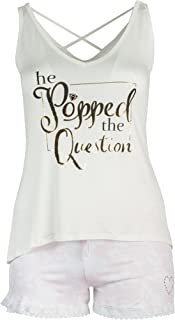 Curvy Couture Women's Plus Size He Popped The Question Cross Back Tank Sleep Set