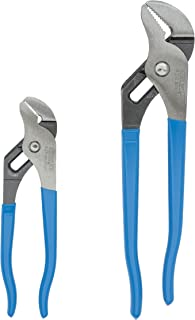 Channellock 2 Piece Tongue and Groove Pliers Set - 9.5-Inch, 6.5-Inch | Straight Jaw Groove Joint Pliers | Laser Heat-Treated 90° Teeth| Forged from High Carbon Steel | Patented Reinforcing Edge Minimizes Stress Breakage | Made in USA