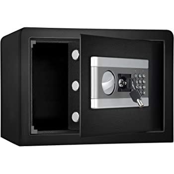 0.8cub Fireproof and Waterproof Safe Cabinet Security Box, Digital Combination Lock Safe with Keypad LED Indicator, for Cash Money Jewelry Guns Cabinet (Black)