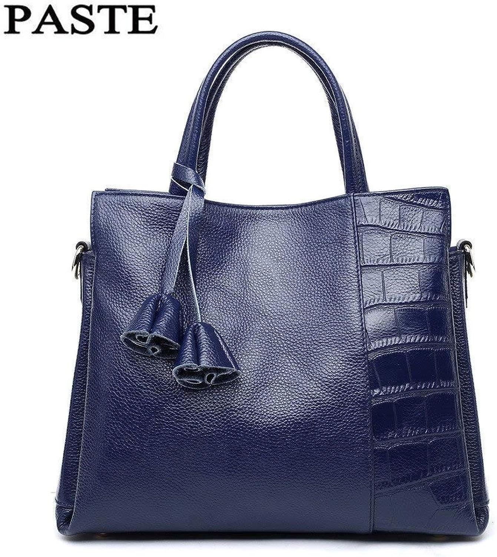Bloomerang 2018 Nature Cowhide Ladies Handbag Crocodile Pattern Genuine Leather Women's Messenger Bags Shoulder Tote Bags for Female PT12 color bluee Size
