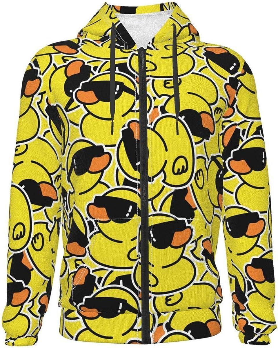 Rubber Yellow Duck with Sunglasses Kids & Youth Full-Zip Fleece Hoodie Boys Graphic Hooded Sweatshirt Jacket Pockets