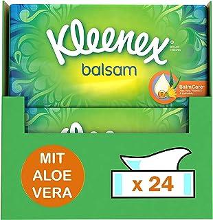 Kleenex Balsam Taschentücher, 4-lagig, Monatsbox, 24 Packungen x 60 Tücher, 4440 g