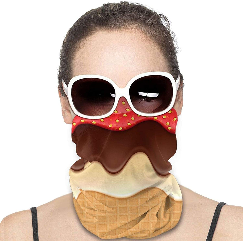 Chocolate Strawberry Ice Cream Neck Gaiter Windproof Face Cover Balaclava Outdoors Magic Scarf Headband for Men Women Motorcycling Fishing Running Climbing