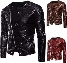 Suesung Men Slim Fit Pu Leather Jacket Motorcycle Biker Distressed Zipper Outwear Coat