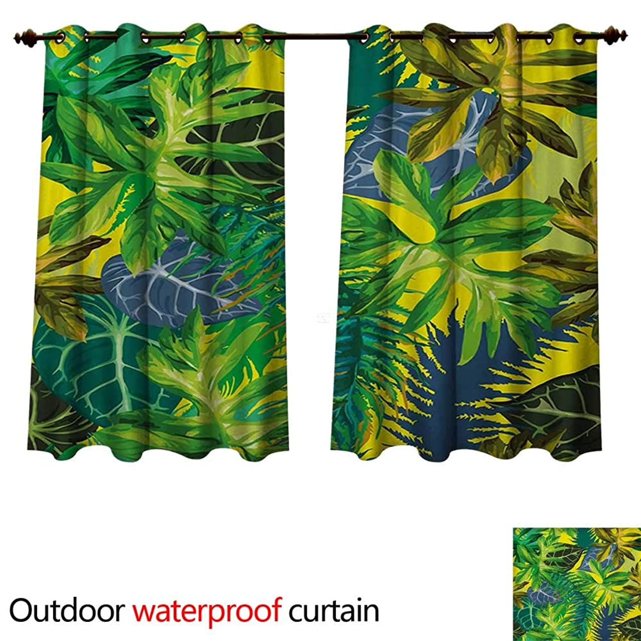 WilliamsDecor Plant Outdoor Balcony Privacy Curtain Botany Themed Drawing Depicting Exotic Leaves in Tropical Environment Hawaiian Vibes W96 x L72(245cm x 183cm)