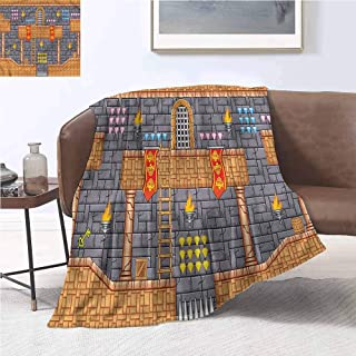 DILITECK Decorative Throwing Blanket Kids Retro Video Game Quest Fantasy Warm and Cosy W70 xL93 Traveling,Hiking,Camping,Full Queen,TV,Cabin