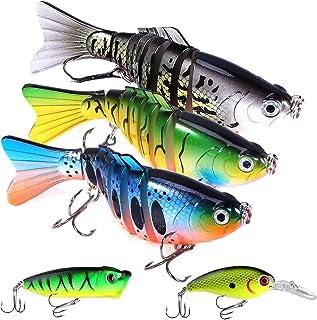 WIISHFIISH Fishing Lures for Bass 3.9 inch 7 Segment Multi Jointed Swimbaits Bass Slow Sinking Hard Lure Fishing Tackle Ki...