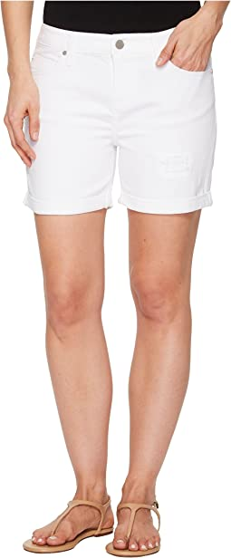 Vickie Shorts with Destruct in Comfort Stretch Denim in Bright White