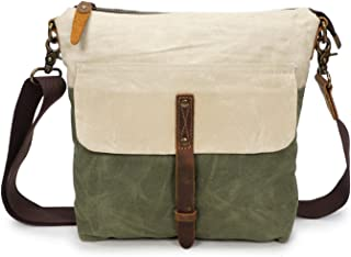Men's Crossbody Oil Wax Canvas Shoulder Bag Retro Canvas with Leather Waterproof Messenger Bag Male Cloth Bag Messenger Bag Casual Crossbody Bag (Color : Green, Size : S)