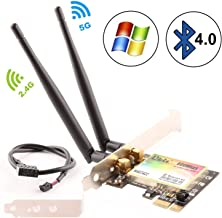 Ubit Bluetooth WiFi Card, Dual-Band 600Mbps PCIe Express Bluetooth Adapter Network Card WLAN WiFi Adapter with Bluetooth 4.0 for Desktop PC Adapter(WAE3422)