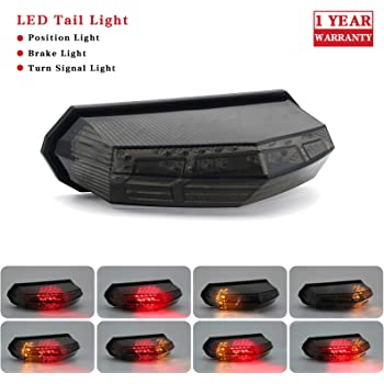 2002-2003 Yamaha YZF R1 LED TailLights Brake Tail Lights with Integrated Indicators Smoke Motorcycle Krator ITL010 Turn Signals