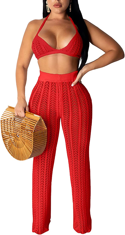 Rela Bota Women Two Piece Outfits Clubwear Hollow Out Bra Top Bikini and Long Pants Beach Cover Up