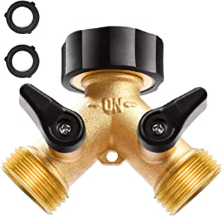 Delxo Garden Hose Splitter 2 Way Y Valve Metal Hose Connector,Solid Brass Hose Connector Garden Splitter Adapter Outdoor for Outdoor Faucet Timers,2 Rubber Hose Washers (Gold)