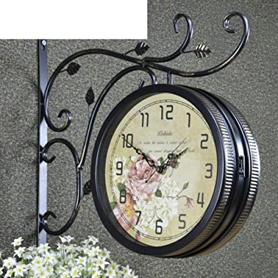 PQPQPQ grte Wall Clock Decorative Wrought Iron Vintage/Wake/Mute For European Style Dual