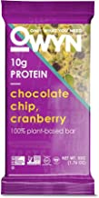 OWYN Only What You Need 100% Plant-Based Bars, Chocolate Chip & Cranberry, Gluten-Free, Dairy-Free, Soy-Free, Allergy Friendly, Vegan 12 Pack