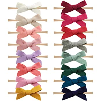16PCS Baby Nylon Headbands Hairbands Hair Bow Elastics for Baby Girls Newborn Infant Toddlers Kids