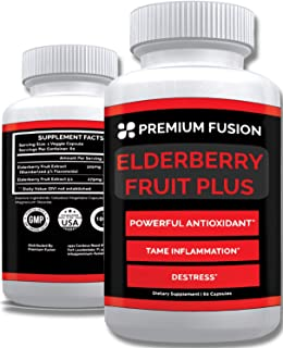 Elderberry Capsules for Immune Support, Antioxidant and Skin Health - Sugar Free - All Natural Elderberries for Women and ...