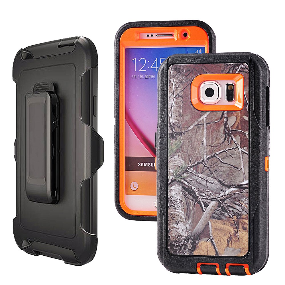 samsung galaxy s6 edge orange cases amazon comgalaxy s6,harsel heavy duty shockproof 3 layer military outdoor sport rubber camouflage wood