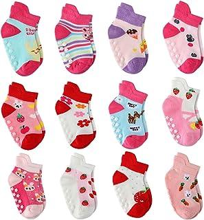 12 Pares de Calcetines para Niña Antideslizantes Bebé Calcetines Algodón, Calcetines Antideslizantes para Niñas Pequeños