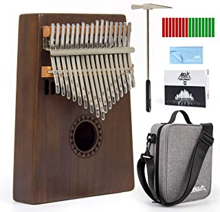 AKLOT カリンバ 17キー C 調 初心者向け EVA防水ケース・ハンマー・清掃クロスなど付き アフリカ楽器 (台形)