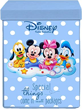 Kuber Industries Disney Kids Team Mickey Print Non Woven Fabric Foldable Laundry Organiser With Lid & Handles (Royal Blue