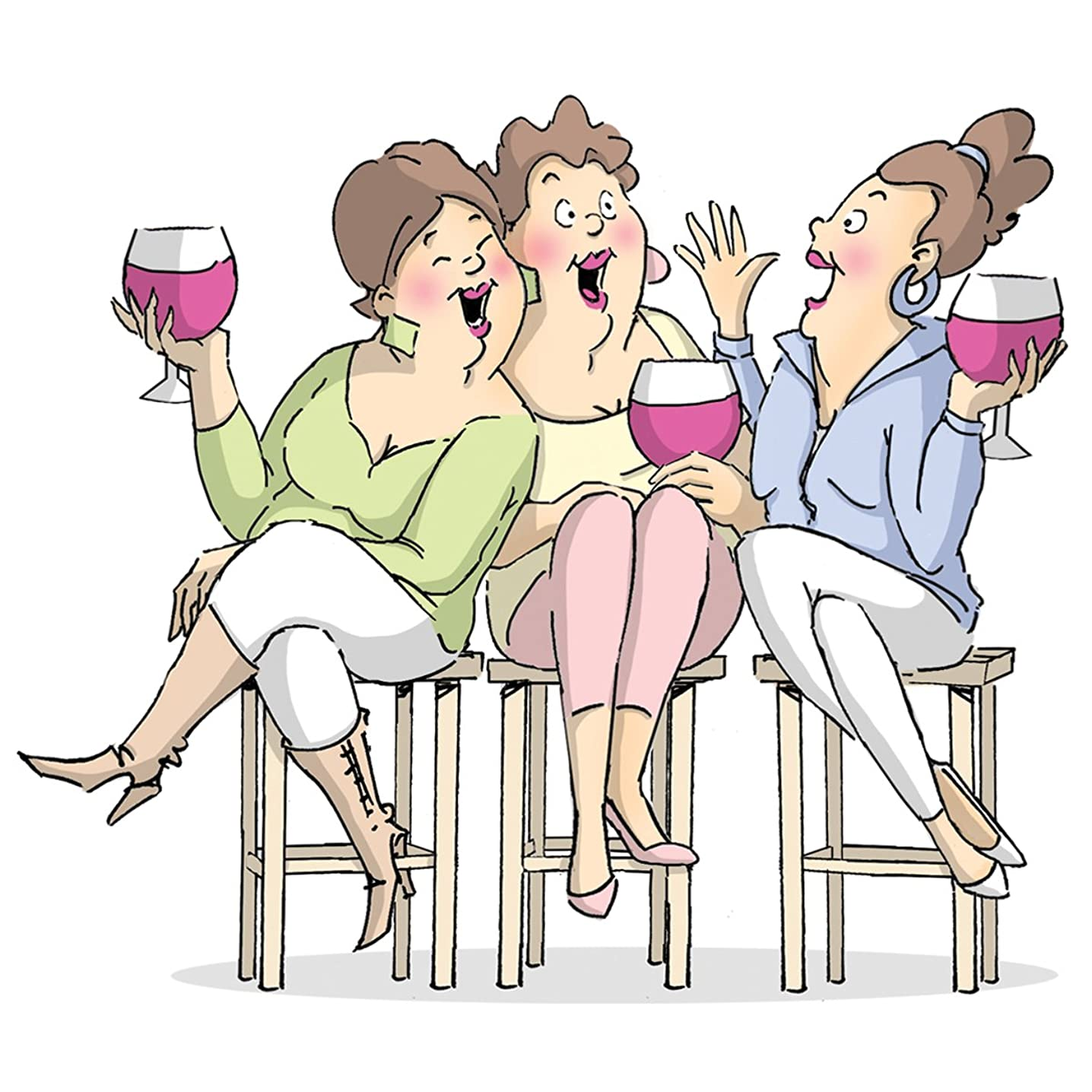 Art Impressions Girlfriends Cling Rubber Stamp, 9 by 4.5-Inch, Wine Tasters