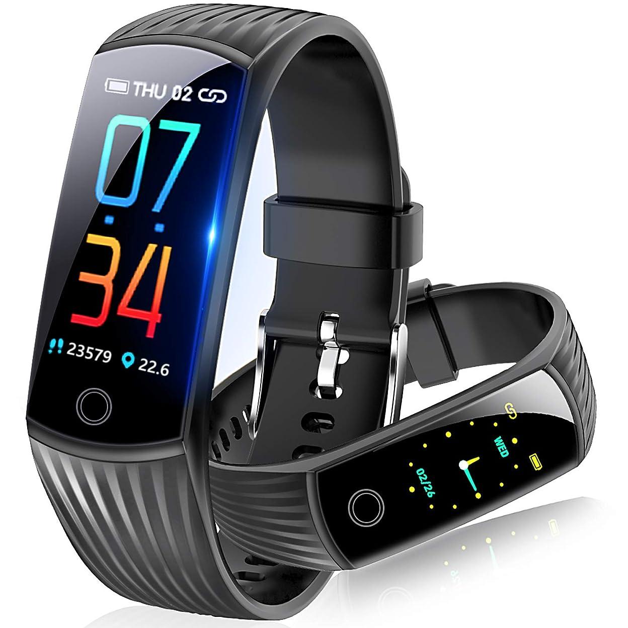 もし名前を作る根拠スマートウォッチ 2019最新 血圧計 心拍計 歩数計 スマートブレスレット カラースクリーン 活動量計 防水 電話着信 LINE アプリ通知 消費カロリー 睡眠検測 アラーム 腕時計 レディース メンズ iphone/Android 日本語対応