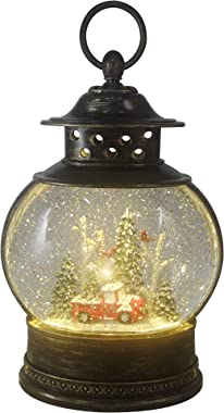 Christmas Light-Up Snow Globe Lantern - Red Truck and Trees