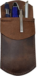 Durable Leather Pocket Protector, Pencil Pouch, Office & Work Essentials Pen Holder Handmade by Hide & Drink :: Bourbon Brown