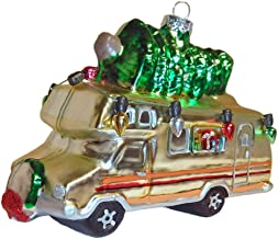 Robert Stanley Home Collection RV Camper with Holiday Lights Glass Christmas Tree Ornament