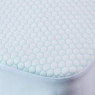 Tofern - Protector de colchón de nailon refrescante, impermeable, transpirable, ultra suave, resistente a los lavados, sábana bajera, diseño de rayón de miel, azul claro, 140 x 200 cm + 30 cm