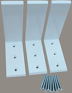 """Heavy Duty L Bracket White Steel 6"""" x 8"""" Countertop Support Brackets Packs (3)"""