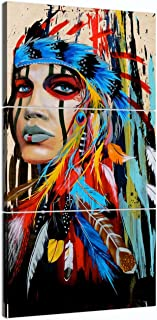Native American Wall Art Truly Beauty Painting Native American Girl Feathered Women Modern Home Wall Decor Canvas Artworks Picture Art HD Print Painting On Canvas 3 Piece, Framed
